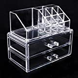 Topicker Clear Acrylic Cosmetic Holder Large 2 Drawer Jewerly Chest -- Make up Case Lipstick Liner Brush Holder Organizer by Topicker
