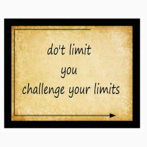 22yiihannz Modern Art Painting with Photo Frame -do't Limit You Challenge Your Limits- Humorous or Inspirational Phrase, Vintage Kraft Paper Style - 14x12inch