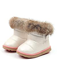 Matoen Kids Baby Infant Boys Girls Child Leather Bootie Fur Warm Snow Shoes Boots