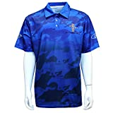 David Carey Ford Mustang Performance Polo Shirt - Blue & Black - Button Up Collared Short Sleeve Dry-Wicking Shirt with Logo, L
