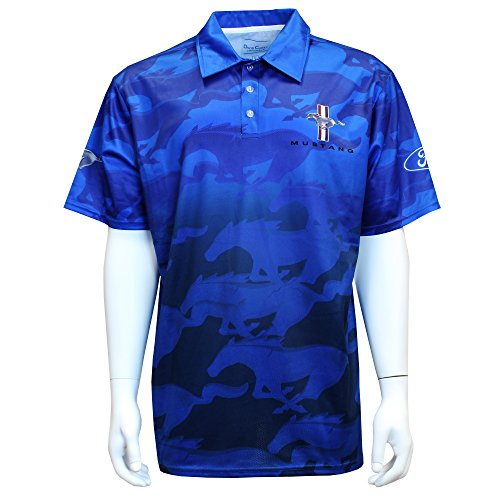 David Carey Ford Mustang Performance Polo Shirt – Blue & Black – Button Up Collared Short Sleeve Dry-Wicking Shirt with Logo, L