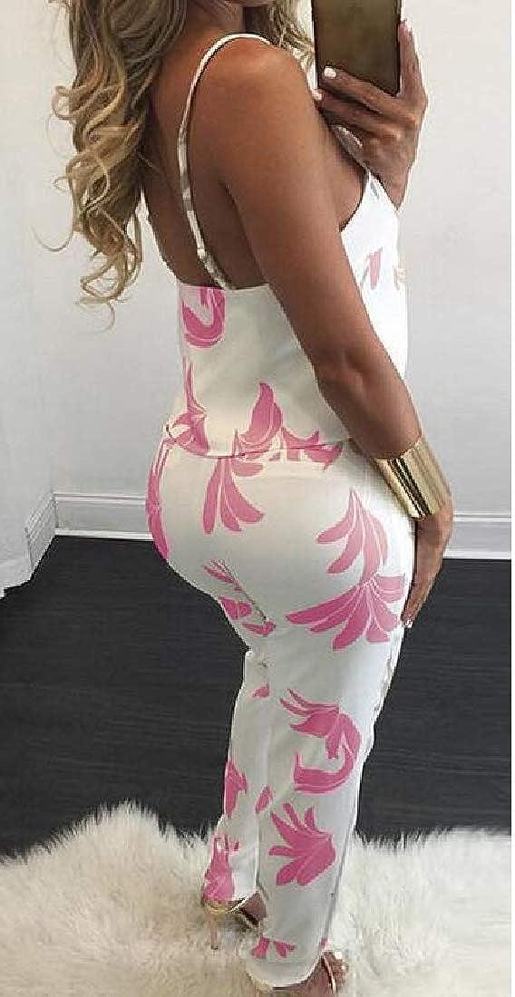 Hajotrawa Women Tank Top and Pants Summer Jumpsuit Floral Print 2 Piece Sets