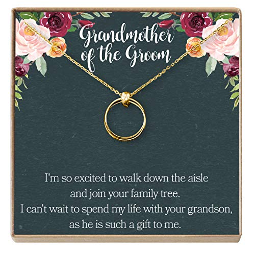 Grandmother of The Groom Gift Necklace: Grandma Wedding, Shower, Rehearsal Dinner, 2 Linked Circles (Gold-Plated-Brass, NA)