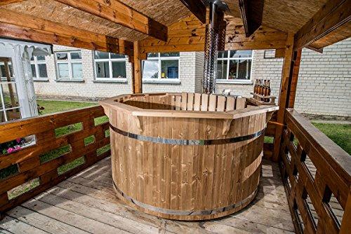 ea23383289c7 Vasca tinozza a botte in legno completa di stufa a legna  Amazon.it  Casa e  cucina
