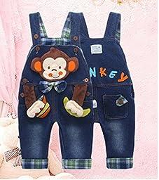 Kidscool Baby Cotton 3D Cartoon Monkey Buttons Pocket Denim Overalls Blue
