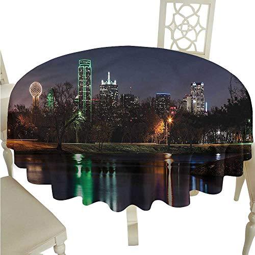 crabee Party Table Cloth USA,Dallas City Skyline Lake