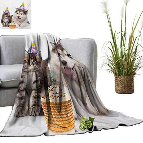 (Kids Birthday Faux Fur Throw Blanket Dog and Cat Domestic Animals with Birthday Party Cones and Cupcake Image Cozy for Couch Sofa Bed Beach Travel 55