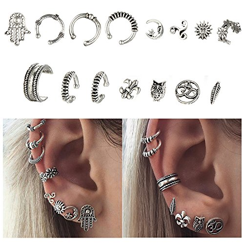 Cuff Earrings Set Ear Crawler Earring Climber Stud Ear Wrap Pin Vine Tribal Charm Vintage Clip On Jewelry Silver Leaf Owl 3D Swirl Hand Flower Sun (Vintage Pin Earrings)