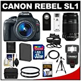Canon EOS Rebel SL1 Digital SLR Camera and EF-S 18-55mm IS STM Lens with EF-S 55-250mm IS Lens + 32GB Card + Battery + Case + Flash + Tele/Wide Lenses Kit, Best Gadgets