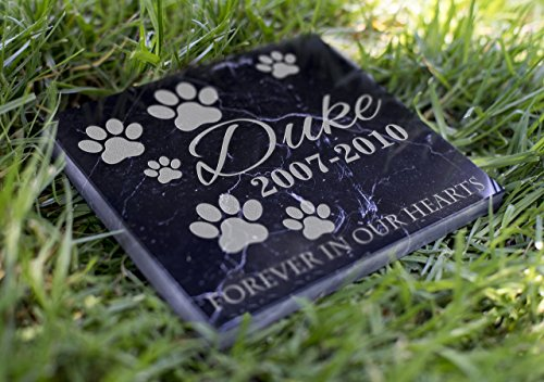 Memorial Pet Headstone - Forever in Our Hearts - (Marble Grave Markers)