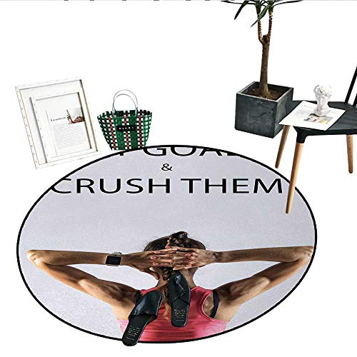 - Fitness Home Decor Area Rug Athletic Model Woman Back View Set Goals and Crush Them Fit Female Body Form Indoor/Outdoor Round Area Rug (51