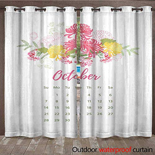 RenteriaDecor Outdoor Curtain for Patio Printable Calendar with Pretty Colorful Flowers W72 x L84 ()