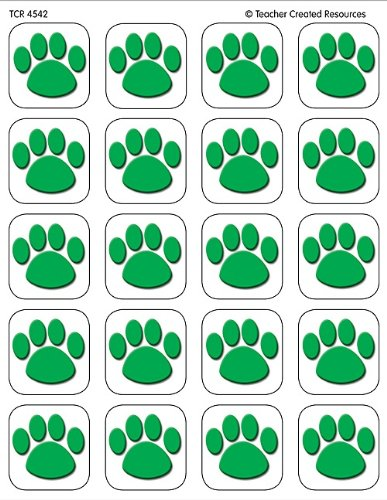 Teacher Created Resources Green Paw Print Stickers (4542)