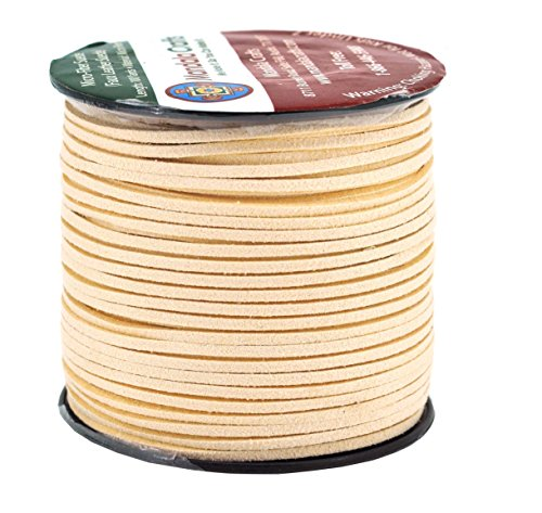 Mandala Crafts 100 Yards 2.65mm Wide Jewelry Making Flat Micro Fiber Lace Faux Suede Leather Cord (Peach Puff)