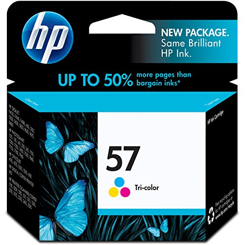 450 Page Yield Tri Color - HP 57 Tri-color Original Ink Cartridge (C6657AN) for HP Deskjet 450 5550 5650 5850 9650 9680 HP Officejet 4215 6000 6110 6500 7000 HP Photosmart 7260 7350 7450 7550 7755 7760 7762 7960 HP PSC 1210 1315 1350 2110 2175 2210 2410