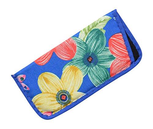 Hawaiian Shirt Inspired Multicolored Floral Motif Canvas Soft Slip Case In Blue (Hawaiian Motif)