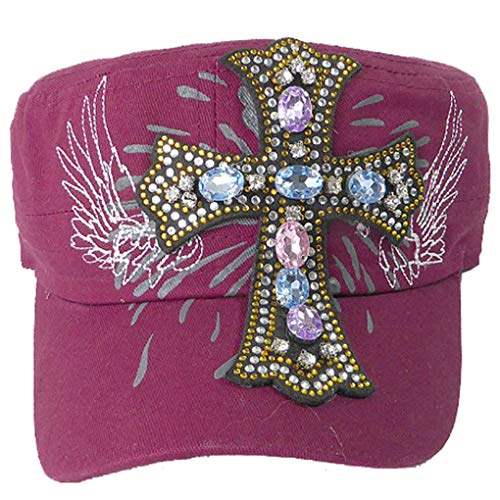 (SILVERFEVER Women's Military Cadet Cap Hat - Patch Cotton - Studded & Embroidered (Burgundy, Angelic Cross))