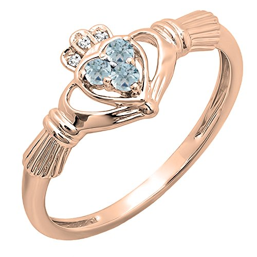 10K Rose Gold White Diamond And Aquamarine Bridal Promise Irish Love & Heart Shape Ring (Size 7)