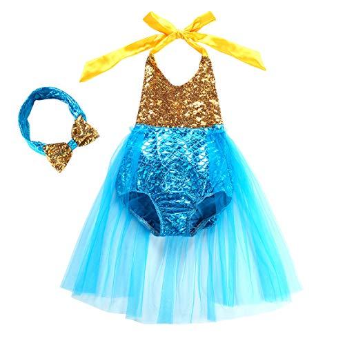 Toddler Girls One Piece Sequins Swimsuit Mermaid Princess Bikini Swim Bathing Suit Dress with Headband (Blue, 110(4-5Y))