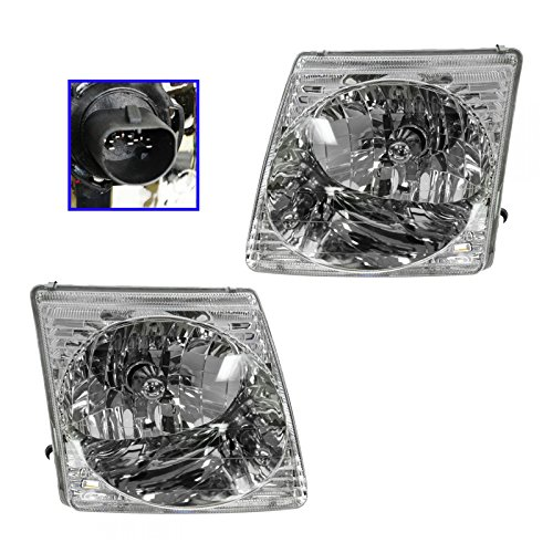 Headlights Headlamps Pair Set for Ford Explorer Sport Trac (Ford Explorer Sport Trac Headlamp)
