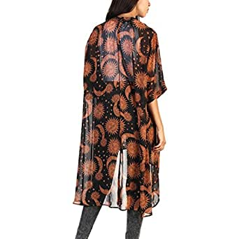 Haoricu Women Cardigan, Womens Open Front Floral Print Chiffon Loose Shawl Kimono Cover up Shirt (M, Brown)
