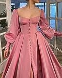 Princess Slit Prom Dresses Long Puffy Sleeve