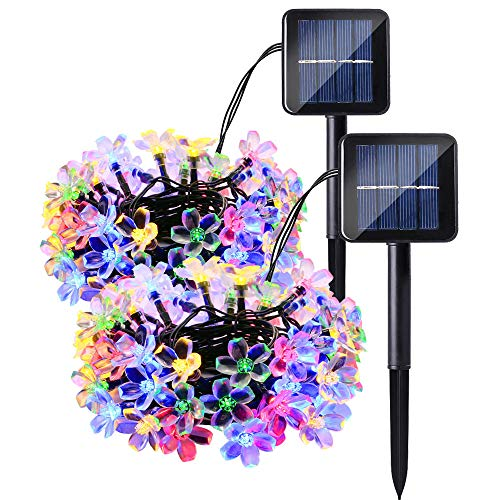 - Lyhope Solar String Lights Outdoor, 22ft 50 LED Cherry Blossom Waterproof Solar Powered Flower Lights for Garden Patio Yard Holiday Party Decorations (Multi-Color, 2 Pack)