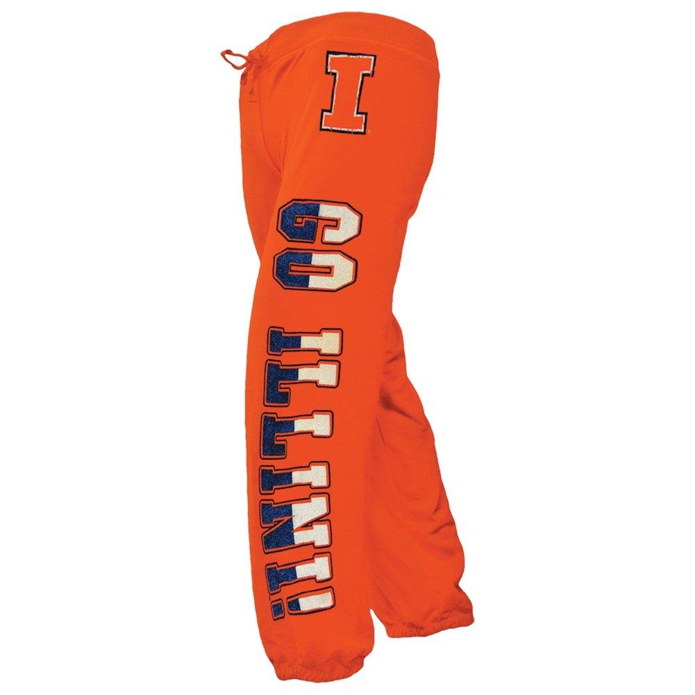 Glitter Go Logo Girls Youth Sweatpants Orange Bama Illinois Fightin Illini