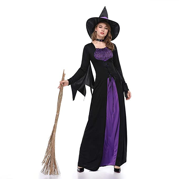 Disfraz de Bruja de Halloween para Mujer, de Manga Larga, 3 ...