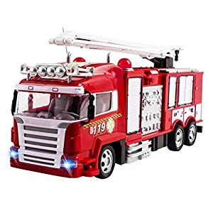 RC Fire Truck Rescue Engine Radio Remote Control w/ Music and Flashing Lights Rechargeable Battery - 51PpSbY0wRL - RC Fire Truck Rescue Engine Radio Remote Control w/ Music and Flashing Lights Rechargeable Battery