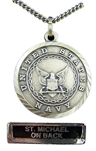 - Nickel Silver Patron Saint Michael United States Navy Medal Pendant, 7/8 Inch
