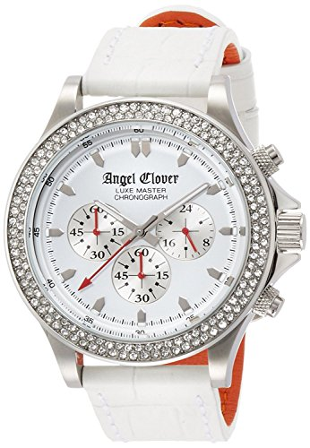 Angel Clover watch luxe master white dial Chronograph Swarovski LM46SWZ-WH Men's
