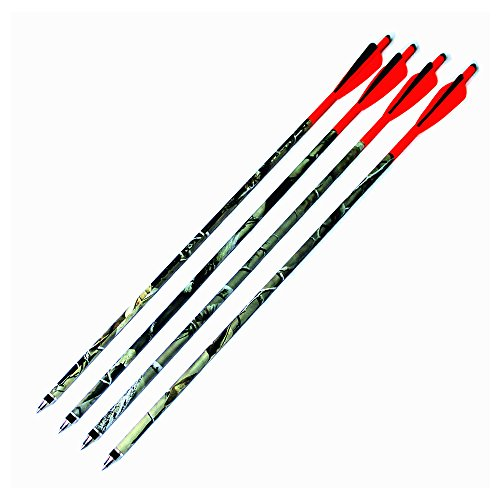 Fletch Bolts - Zhan Yi Crossbow Bolts Carbon Arrows Steel Tips Insert Fletch with 4'' Vane for Hunting Bow (6Pack 16 inch)