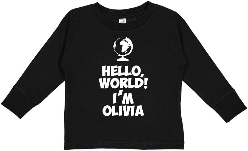 World Personalized Name Toddler//Kids Long Sleeve T-Shirt Mashed Clothing Hello Im Olivia