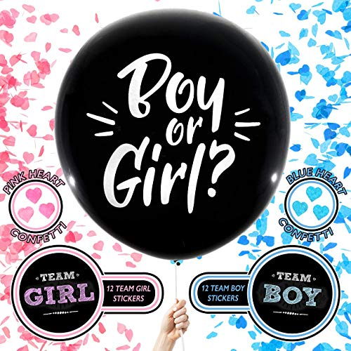 BIG REVEAL CO. Gender Reveal Balloon | Includes: Two Giant 36 inch Black Balloons with Pink & Blue Heart Shape Confetti and 24 Gender Reveal Party Stickers | Perfect Boy or Girl Baby Announcement Kit]()