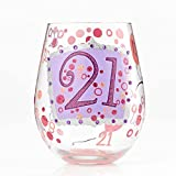 "Designs by Lolita ""21"" Hand-painted Artisan Stemless Wine Glass, 20 oz."