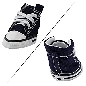 abcGoodefg Cute Puppy Pet Dog Sporty Shoes Lace up Blue Canvas Dog Boots Nonslip Dog Booties Sneaker for Chihuahua Yorkie Small Doggies - 4 Pcs in One Pack