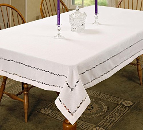 Violet Linen Hem Stitch Embroidered Vintage Design Oblong/Rectangle Tablecloth, 60