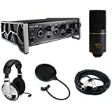 Tascam US-2x2 2-Channel USB Audio Interface Kit with MXL 770 Cardioid Condenser Microphone, Pop Filter, 20' XLR Cable & Stereo Headphones