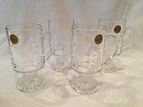 "Set of Four Princess House Heritage Etched Glass Mugs (4.5"" tall x 4.5"" across)"