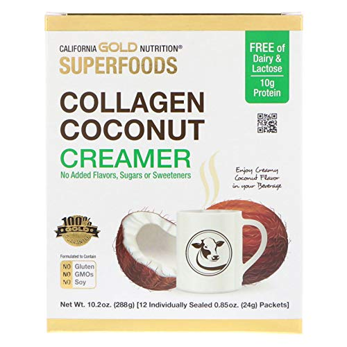 - California Gold Nutrition Superfoods Collagen Coconut Creamer Unsweetened 12 Packets 0 85 oz 24 g Each