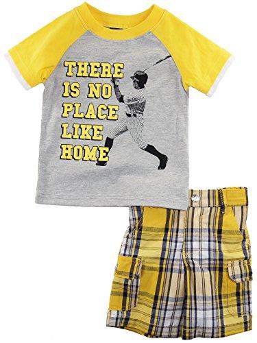 Boys Rock Baby Boys Infant Baseball T-Shirt Two Piece Plaid Shorts Set, Grey, 12 Months