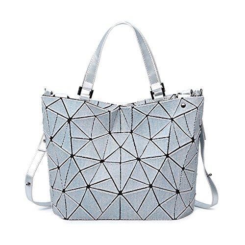 Couleur Géométrique Sac Gray Lumineux Main PU Forme à Diamant DHFUD Grille De En Seau Sac RTS88x