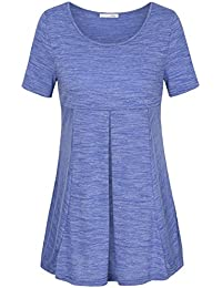 Messic Women's Short Sleeve Scoop Neck Pleated Soft...