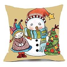 Elogoog Merry Christmas Cute Series Pillows Cover Snowman Elk Printing Thankgiving Halloween Decor Pillowcase Sofa Waist Throw Cushion Cover 18 x 18 (18 x 18 Inches, Cute Christmas Series_D)
