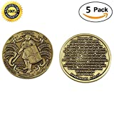 5 Pack Set of Challenges Coins Deluxe Collector's Set   Antique Finished Armor of God High Relief Challenge Coin- Officially Licensed Each Coin Comes w/ a Pl (5 Pack Antique Finished Armor of God)