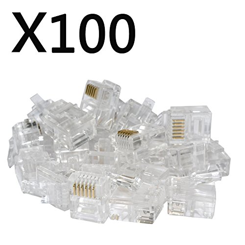 100PACK Telephone Plug 6P6C RJ12 Modular Plug (6/6, Telephone Cord Connector)