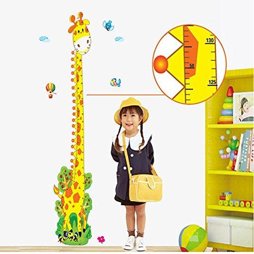 Wenasi Cartoon Animal Giraffe Height Ruler Wall Sticker Wallpaper Removable Wall Decals for Kids ()