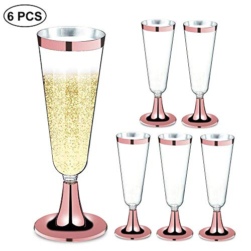 HOCIWOM 6 Packs Plastic Champagne Flutes, 5.5 Oz Clear Hard Plastic Disposable Party & Wedding Cups for Mimosas, Bloody Mary's, Wine Glasses, Sodas, Cocktail Cups, Parfaits, Sundaes and Other Desserts