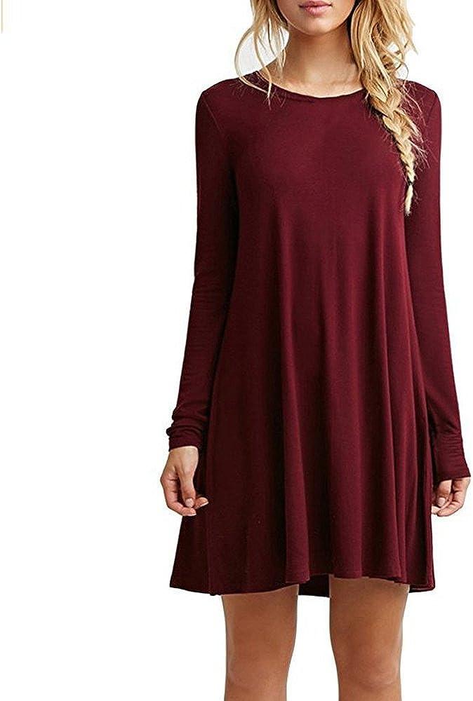 TALLA S. ZNYSTAR Mujer de Camiseta Suelto Casual Cuello Redondo Mini Vestidos Vino Rojo Manga Larga